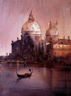 Dusand Jukaric, Gondolier, Watercolor, 28x38 cm.