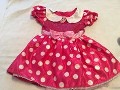 Disney Minnie Mouse Play Costume Halloween Red Pink White Polka Dot Girl 4-6X