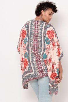 Plus Size Crochet Trim Border Print Kimono- Beige Plus Size Womens Clothing, Clothes For Women, Classy Girl, Border Print, Crochet Trim, Latest Trends, Kimono Top, Curvy, Beige