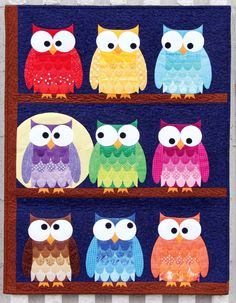 Owl baby quilts - Hootsville Row quilt sewing pattern from Sassafras Lane Designs – Owl baby quilts Quilt Baby, Owl Baby Quilts, Baby Owls, Baby Animals, Owl Quilt Pattern, Applique Quilt Patterns, Sewing Patterns Free, Owl Applique, Kids Patterns
