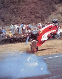 Gilles Villeneuve's impressive crash with Ronnie Peterson, during the 1977 Japanese Grand Prix. A photographer and a race marshall were killed, sadly, and a lot of spectators were injured. Ferrari Racing, Ferrari F1, F1 Racing, F1 Crash, F1 Lotus, Gp Moto, Japanese Grand Prix, Monte Fuji, Gilles Villeneuve