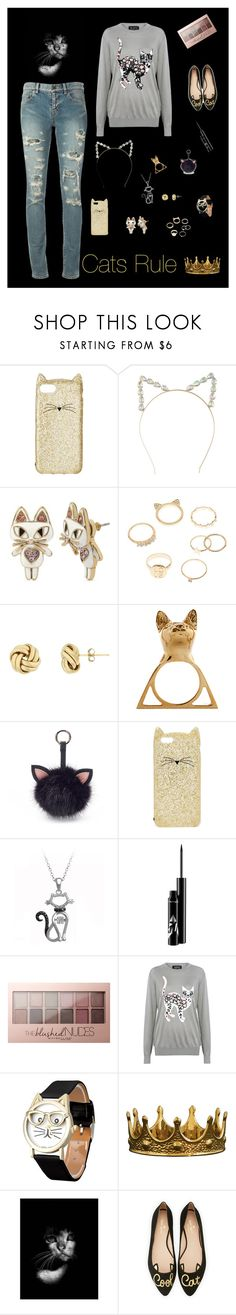 """""""Cats Rule"""" by katniss4117-1 on Polyvore featuring Kate Spade, Betsey Johnson, Charlotte Russe, Glenda López, Under One Sky, Maybelline, Markus Lupfer, Seletti, NOVICA and Yves Saint Laurent"""