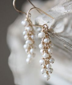 freshwater pearl earrings white cluster gold by ElisabethSpace, $36.00