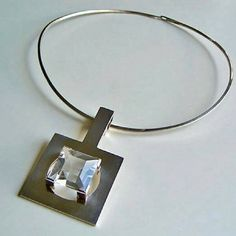 #buyitnow > Kaunis Koru (FI), minimalist geometric sterling silver neck ring with a faceted rock crystal, 1986. #finland #kauniskoru | finlandjewelry.com