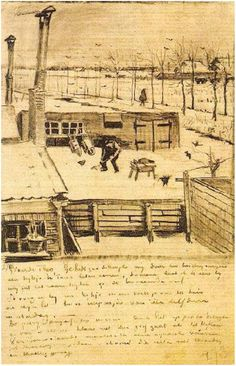 Letter Sketches, The Hague: March - 21-28, 1883 Van Gogh Museum Amsterdam, The Netherlands, Europe Image Only - Van Gogh: Snowy Yard
