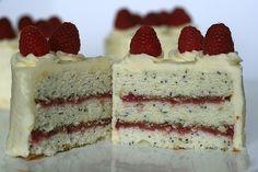 Lemon Poppy Seed Cake with Raspberry Filling and Lemon Buttercream Frosting