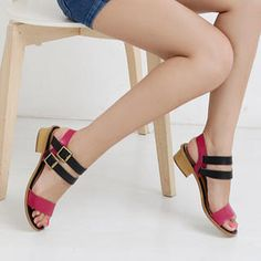 Genuine-Leather Color-Block Sandals