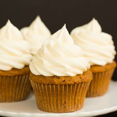 Pumpkin Cupcakes with Cream Cheese Frosting | Brown Eyed Baker