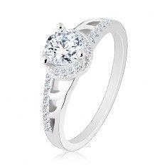 925 ezüst eljegyzési gyűrű, csillogó szárak vésetekkel, kör alakú cirkónia