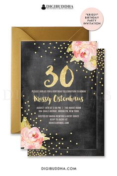 Pink peonies birthday invitation with chalkboard and gold glitter sparkle details. 30th birthday, surprise party, 21st birthday or any other age. Choose from ready made printed cards with envelopes or printable monograms & mimosas bridal shower invites. Gold shimmer envelope also available, at digibuddha.com