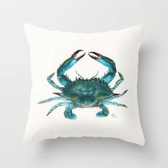 Society6 | Blue Crab Watercolor Throw Pillow by Amber Marine ••• AmberMarineArt.com •••