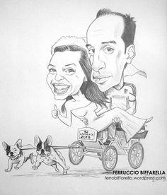 #Caricature sposi bianco e nero realizzata a mano per il #matrimonio di Lucia e Cristian a Marina di Ravenna #wedding #mariage by Ferruccio Biffarella