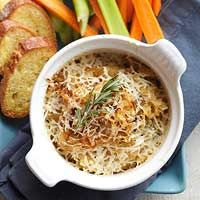 baked hummus with asiago cheese