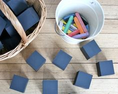 Chalkboard painted blocks.