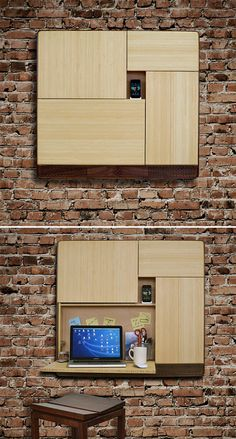 tinyhousedarling:PodpadIt's multifunctional and saves space. The Podpad is a wall-mounted desk and storage unit that folds open for use as a workspace & holds your laptop, mail & desk junk plus it also houses a built-in sound system & charging station.