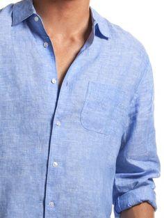 Classic blue linen shirt for men
