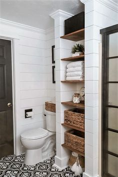 Faux shiplap is all the rage these days – I think we can thank Fixer Upper and. - Faux shiplap is all the rage these days – I think we can thank Fixer Upper and Joanna Gaines for - Bathroom Wall Decor, Bathroom Renos, Bathroom Closet, Shelving In Bathroom, Shiplap In Bathroom, Bathroom Organization, Bath Decor, Bathroom Fixer Upper, Bathroom Built Ins