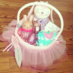 Easter basket for infant easter pinterest easter baskets for a baby girls easter basket just change out negle Images