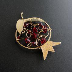 Pomegranate brooch 24K gold plated-solid sterling by emmanuelaGR