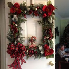 most special vertical Christmas wreath hanger, Christmas Wreath, Square wreath, retangle wreath, DIY Lantern Christmas Decor, Christmas Swags, Plaid Christmas, Holiday Wreaths, Rustic Christmas, Christmas Ornaments, Christmas Time, Picture Frame Wreath, Christmas Picture Frames