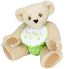 "15"" Baby Bear Green from Vermont Teddy Bear. $65.99 #NewBaby #TeddyBear"