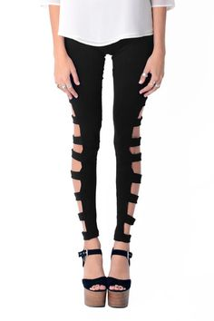 Cut Out Black Leggings | Femme Realm