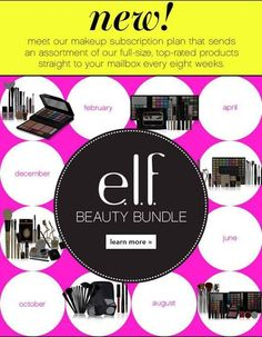 I want to get this so much! Every 8 weeks elf will send you $40 worth of their makeup in the mail. You can order one at a time for $19.99, subscribe for half a year for $59.97, or for a whole year for $119.94.