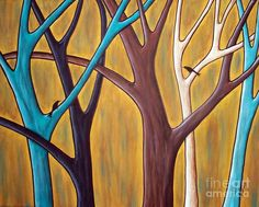 Two Birds And Five Trees Painting by Karla Gerard