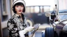 Essie Davis as lady sleuth Phryne Fisher in Miss Fisher's Murder Mysteries. The show takes place in 1920s Melbourne and the styling is impeccable!