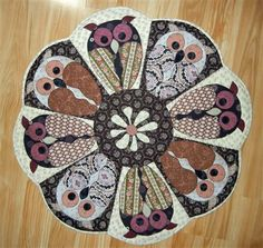 Round quilted Table Topper Patterns | An Owl in the Round Table Topper - Quilters Club of America
