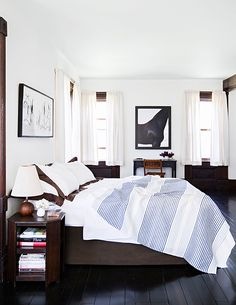 classic bedroom, brown with a pop of blue