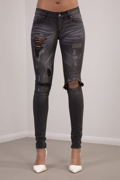 4bc74f691dcb BLACK RIPPED SKINNY JEANS FADED EFFECT