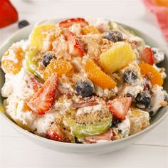 "Salad"" seems like a bit of a stretch, but it's basically a fruit salad — even if it is tossed in a whipped cheesecake topping. #easyrecipe #fruit #fruitsalad #hawaiian #dessert"