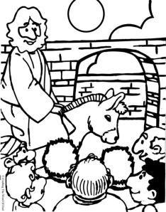 Jesus Enters Jerusalem Coloring Page