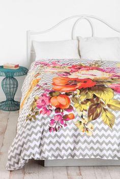 Plum And Bow Bouquet Duvet Cover