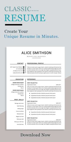 Professional resume template set with one-page and two-page resume designs with matching cover letter and references sheet for a complete and consistent presentation.