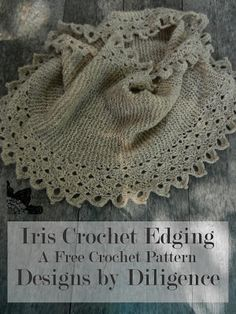 The Iris cowl is a perfect pattern for someone who crochets and is wanting to try out knitting. the edging is a simple shell pattern. The only stitches used are sc, dc, ch, and picot. Lace doesn't have to be complicated to look beautiful. Pattern found on designs by diligence. #FreeCrochetPattern #Ravelry #etsy #DIY