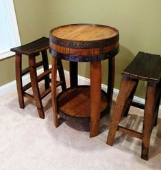 Whiskey Barrel Pub Table ~ Handcrafted From A Whiskey Barrel by BarnWorksDesigns on Etsy