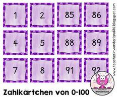Teacher In Wonderland: Kleine Zahlkärtchen von 0-100