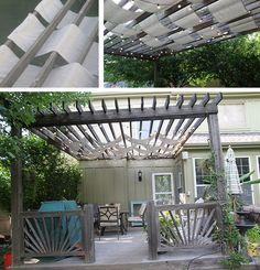 DIY shaded pergola -- fabric in slats (Home Depot's The Apron Blog)