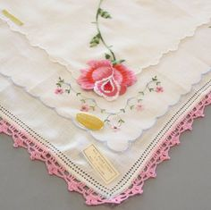 Three Vintage Handkerchiefs with original labels:  Roses and Pink Crochet by BJsYesterday on Etsy https://www.etsy.com/listing/197590696/three-vintage-handkerchiefs-with