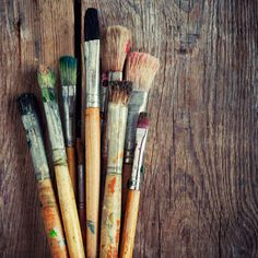 Check out Bunch of old artist paintbrushes by chamillewhite on Creative Market