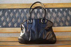 Vintage black genuine leather handbag. Shoulder by vintagdesign