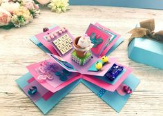 Papercraft Explosion Box Card - Create & Craft Blog Exploding Box Template, Exploding Gift Box, Crafts To Do, Paper Crafts, Explosion Box Tutorial, Box Invitations, Clothes Pin Wreath, How To Make Christmas Tree, Purple Cards