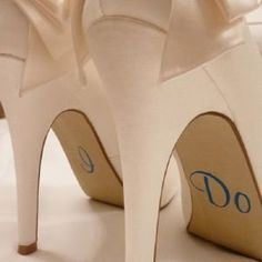 Nutmeg Wedding Shoe Stickers - I Do (Murphy Script) - Blue:Amazon:Kitchen & Home