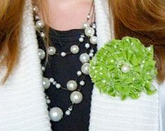 Easy #tutorial for a no-sew fabric scrap flower to wear on St. Patrick's Day.  #stashbuster