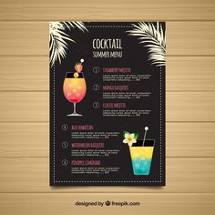 Flat template of cocktails menu Free Vector