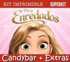 Kit Imprimible Rapunzel Enredados Candy Bar Invitaciones - $ 49,90