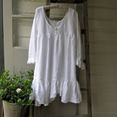 Gorgeous things in this shop!  White Linen Prairie Dress Made to Order from Small to Extra Large- Megby Design