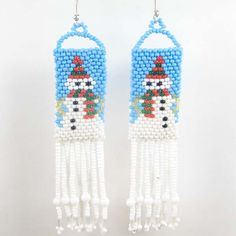 White Turquoise Snowman Beaded Earrings